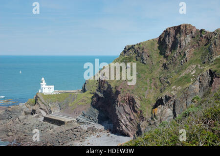 Hartland Point Lighthouse from Blagdon Cliff with the Bristol Channel on the east side and the Atlantic ocean on - Stock Image