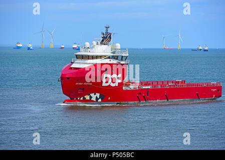 The Norwegian offshore supply vessel crosses the North Sea as it approaches Aberdeen Harbour in Grampian Region Scotland. - Stock Image
