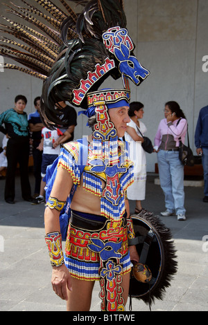 Mexican Man Dressed in Aztec Rabbit Costume at a Traditional Aztec Festival at the National Museum of Anthropology, - Stock Image