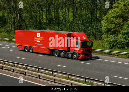 Royal Mail HGV travelling on the M56 motorway in Cheshire UK - Stock Image
