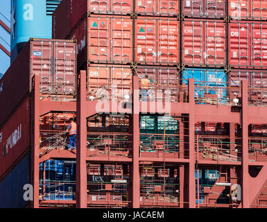 Container ship gets loaded, container , Hamburg Harbor, Burchardkai, Hamburg, Germany - Stock Image