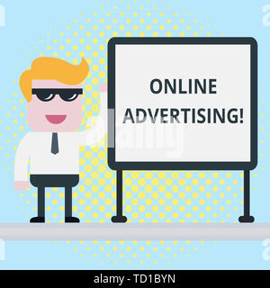 Text sign showing Online Advertising. Business photo showcasing Internet Web Marketing to Promote Products and Services Businessman Office Worker Sung - Stock Image