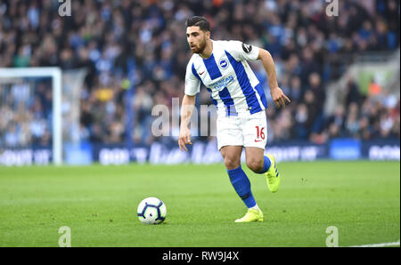 Alireza Jahanbakhsh of Brighton on the ball during the Premier League match between Brighton & Hove Albion and Huddersfield Town at the American Express Community Stadium . 02 March 2019 - Stock Image