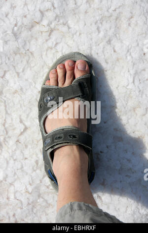 Cloe-up of a foot with a sandal, stepping on the salt bottom of the Larnaca salt lake, Cyprus, Europe - Stock Image