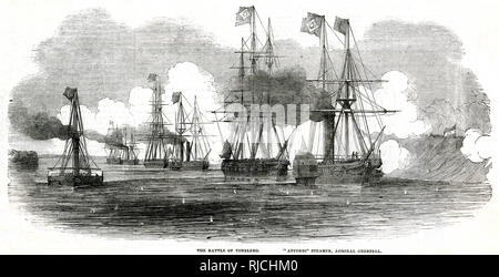 Battle between the Argentine Confederation army and the Brazilian Imperial Navy, commanded by Admiral Grenfell in the flagship steamer 'Affonzo'. This was part of a long standing dispute over influence over Paraguay and Uruguay by either nation. Brazilian ships receive and return fire from the Argentine forces stationed on the shore. - Stock Image