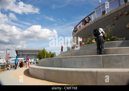 Steps feature at Olympic Park, London 2012 Olympic Games site, Stratford London E20 UK, - Stock Image