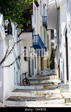 A Stepped Street in Skopelos Town, Nothern Sporades Greece. - Stock Image
