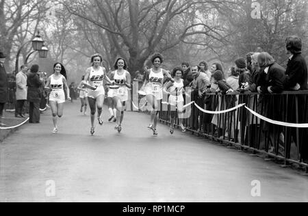 Humour/Unusual/Sport. Charity Pancake Race. Lincoln's Inn Fields. February 1975 75-00807-004 - Stock Image