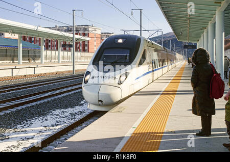 High speed bullet train (D) at Antu West Railway Station - Stock Image
