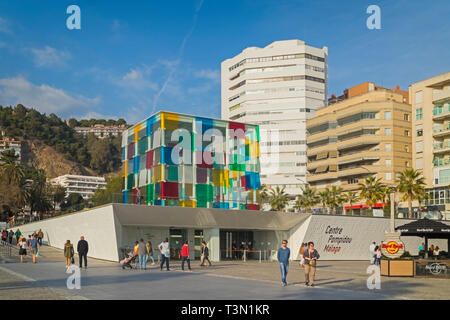 The distinctive glass cube of the Pompidou Centre museum on Muelle Uno, Malaga.  The structure was designed by French artist Daniel Buren (1938 - ).   - Stock Image