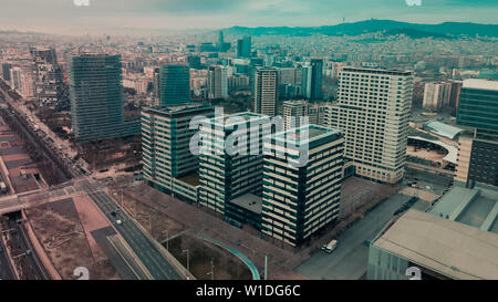 Panoramic view of modern areas in coastal zone of Barcelona - Stock Image