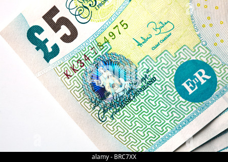 Five pound notes, close-up - Stock Image