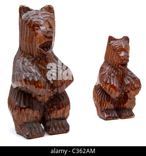 Pair of German black forest carved wooden bears. - Stock Image