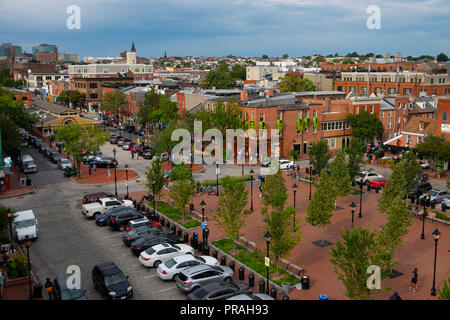 USA Maryland Baltimore Fells Point aerial overview of Broadway Square in central Fells Point - Stock Image