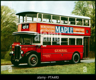 General London Bus, 1930 colour photograph of a number 11 double decker bus, GF 7211, which served the Hammersmith to Liverpool Street route until 1949 - Regent ST chassis 661334, LGOC H29/20R body 10550 - Stock Image
