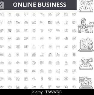 Online business line icons, signs, vector set, outline illustration concept  - Stock Image