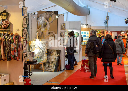 Shoppers browse through the displays at a Makers Art Market in Rennes, France. - Stock Image