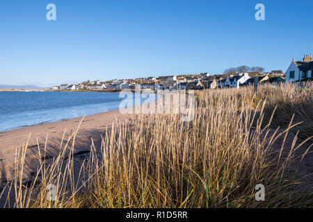 Portmahomack Beach on a perfect clear winter days with blue sky, Easter Ross, Highland, Scotland - Stock Image