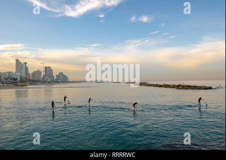 A group of stand up paddle boarders practicing early in the morning off the urban beach in Tel Aviv, Israel - Stock Image