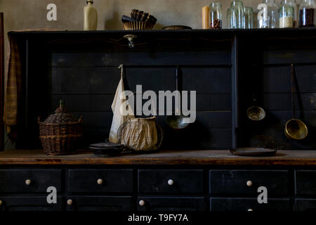 Still life with old vintage kitchen interier, dark key, home style background - Stock Image