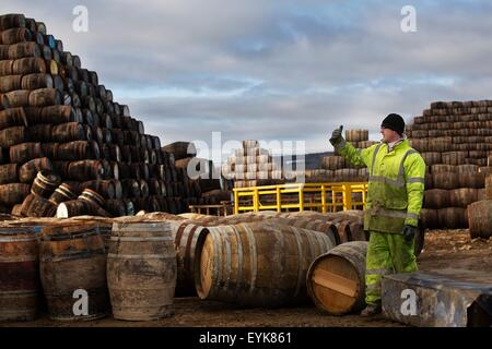 Young man working at cooperage - Stock Image