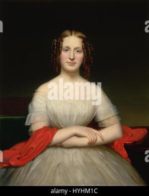 Charles Cromwell Ingham   Portrait of Fidelia Marshall   Google Art Project - Stock Image