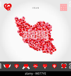 I Love Iran. Red and Pink Hearts Pattern Map of Iran Isolated on Grey Background. Love Icon Set. - Stock Image