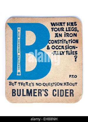 Vintage Beermat Advertising Bulmers Cider - Stock Image