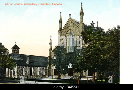 Old vintage Topographical Canadian Picture Postcard of Christ's Church Cathedral Hamilton Canada 1900s FOR EDITORIAL - Stock Image