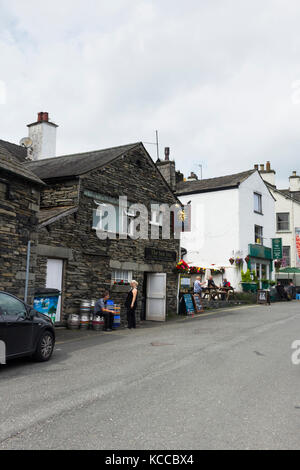 The village of Hawkshead in Cumbria. The village is a popular destination for visitors to the Lake District though - Stock Image