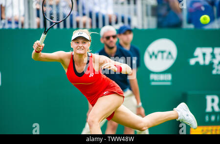 Eastbourne, UK. 23rd June 2019.   Dayana Yastremska of Ukraine on her way to defeat against Johanna Konta of Great Britain in their first round match at the Nature Valley International tennis tournament held at Devonshire Park in Eastbourne . Credit : Simon Dack / TPI / Alamy Live News - Stock Image