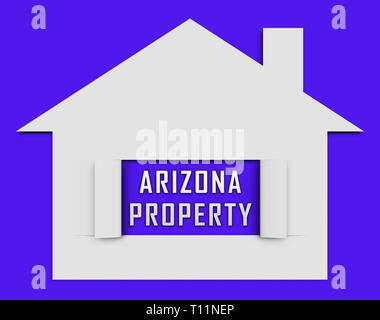Arizona Real Estate House Shows Southwestern Property Or Broker In The Usa 3d Illustration - Stock Image