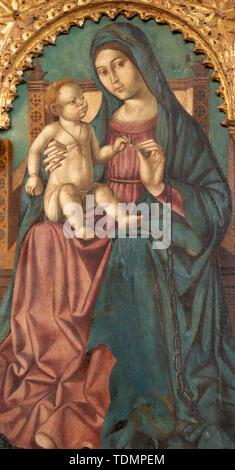 TAORMINA, ITALY - APRIL 9, 2018: The renaissance painting of Madonna in Duomo (San Pancrazio) by Antonello de Saliba (1504). - Stock Image