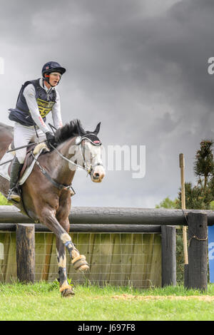 Rockingham Castle grounds, Corby, England. Saturday 20th May 2017. Paul Sims and his horse Ballymore Oaken george - Stock Image