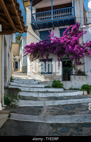 Stepped Street in Skopelos Town, Northern Sporades Greece - Stock Image