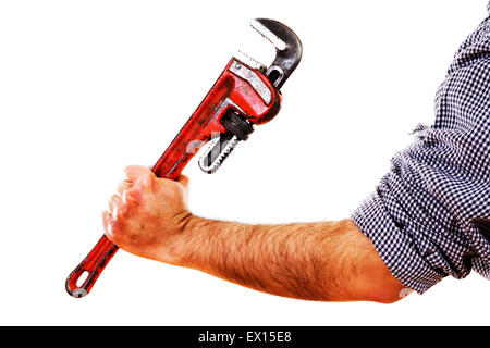 Stock image of man holding red pipe wrench, isolated on white. - Stock Image