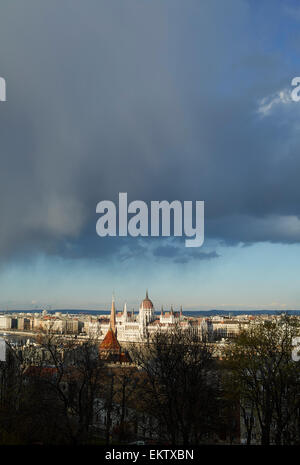 Budapest Parliament viewed from the Buda side of the Danube. - Stock Image