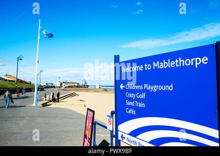 Mablethorpe, Lincolnshire, UK, Welcome to Mablethorpe sign, Mablethorpe UK, UK seaside towns, Mablethorpe town UK, seaside towns UK, seaside town, UK - Stock Image