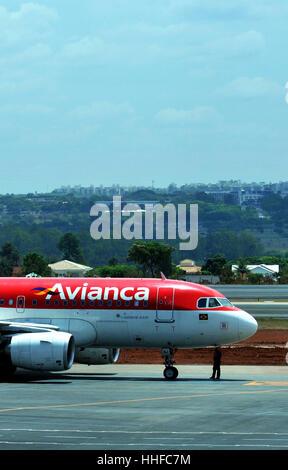 Airbus A 319 of Avianca airways Brasilia airport Brazil - Stock Image