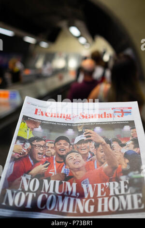 London, England. 4th July 2018. The newspaper headlines about the England Team's World Cup success are everywhere on London's Underground. ©Tim Ring/Alamy Live News - Stock Image
