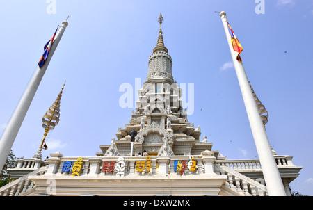 Phnom Sampeau Golden Stupa Battambang Cambodia - Stock Image