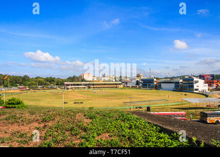 Galle, Sri Lanka - March 14th 2011: A cricket match in progress at Galle cricket ground. The venue is used for test matches. - Stock Image