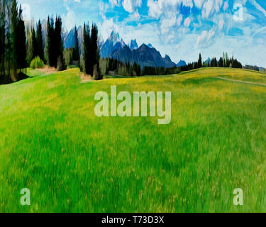 DIGITAL ART: Alpine Scene (Bavaria, Germany) - Stock Image