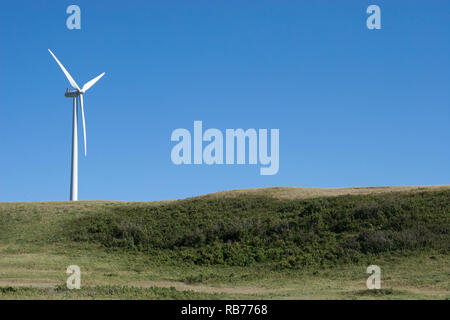 Wind turbine in prairie landscape - Stock Image