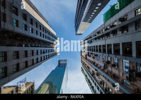 Low angle view of skyscrapers in Hong Kong - Stock Image