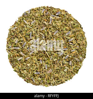 Dried Herbes de Provence, herb circle from above. Disc, made of herbs of the Provence, France. Savory, rosemary, thyme, lavender, oregano and marjoram. - Stock Image