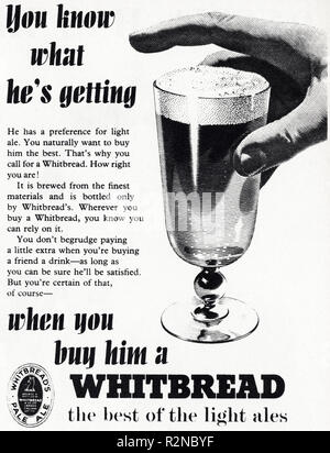 Original 1950s vintage old print advertisement from English magazine advertising Whitbread Pale Ale beer circa 1954 - Stock Image