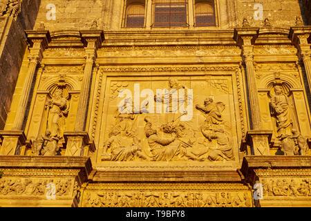 Church of El Salvador, detail of the facade - Unesco World Heritage -. Úbeda, Jaén, Andalusia, Spain. - Stock Image