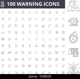 Warning line icons, signs, vector set, outline illustration concept  - Stock Image