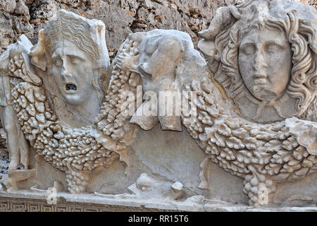 Sarcophagus Figures, Side Museum, Side, Turkey - Stock Image